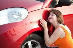 Female pleased with car detail.